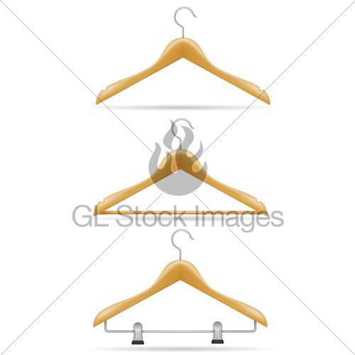 500x500 Wooden Clothes Hanger Vector Illustration Gl Stock Images