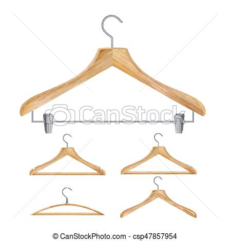 450x470 Wooden Clothes Hangers Vector. Illustration Of Classic Clothes