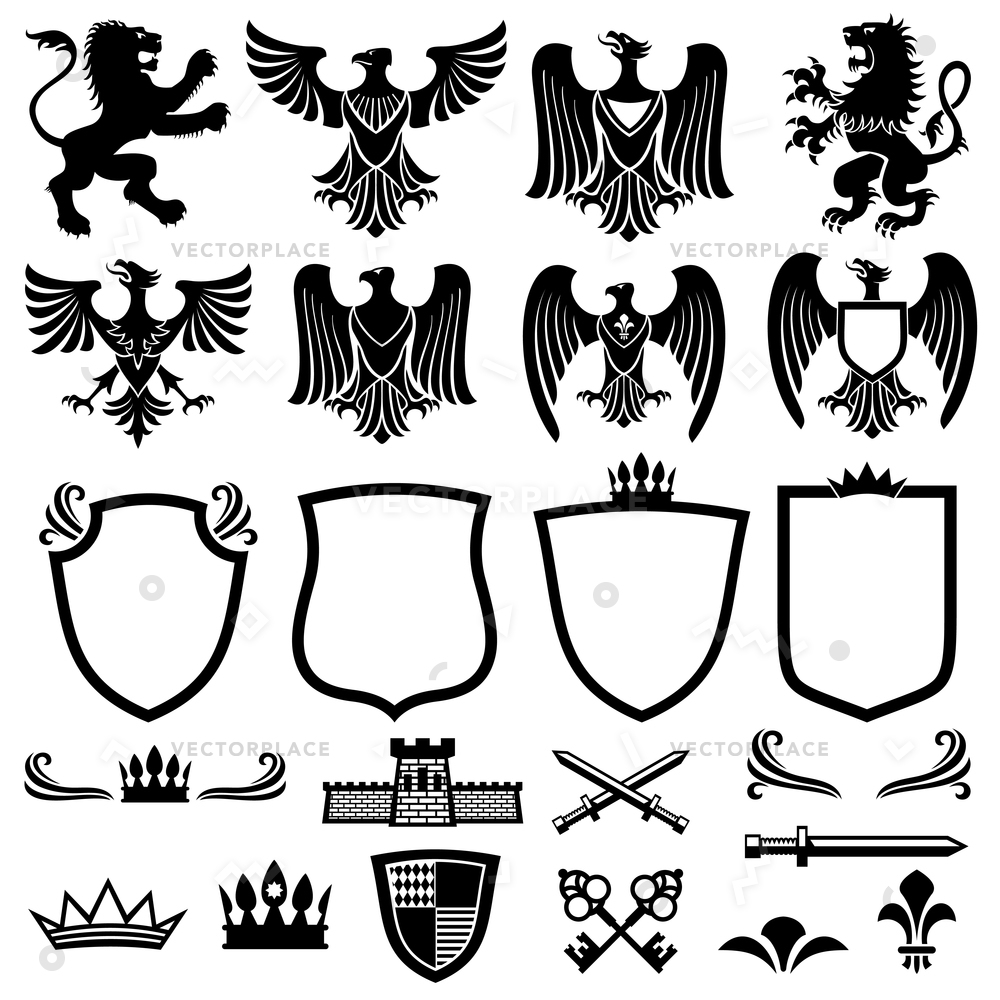 1000x1000 Family Coat Arms Elements For Heraldic Vector Illustration 45497