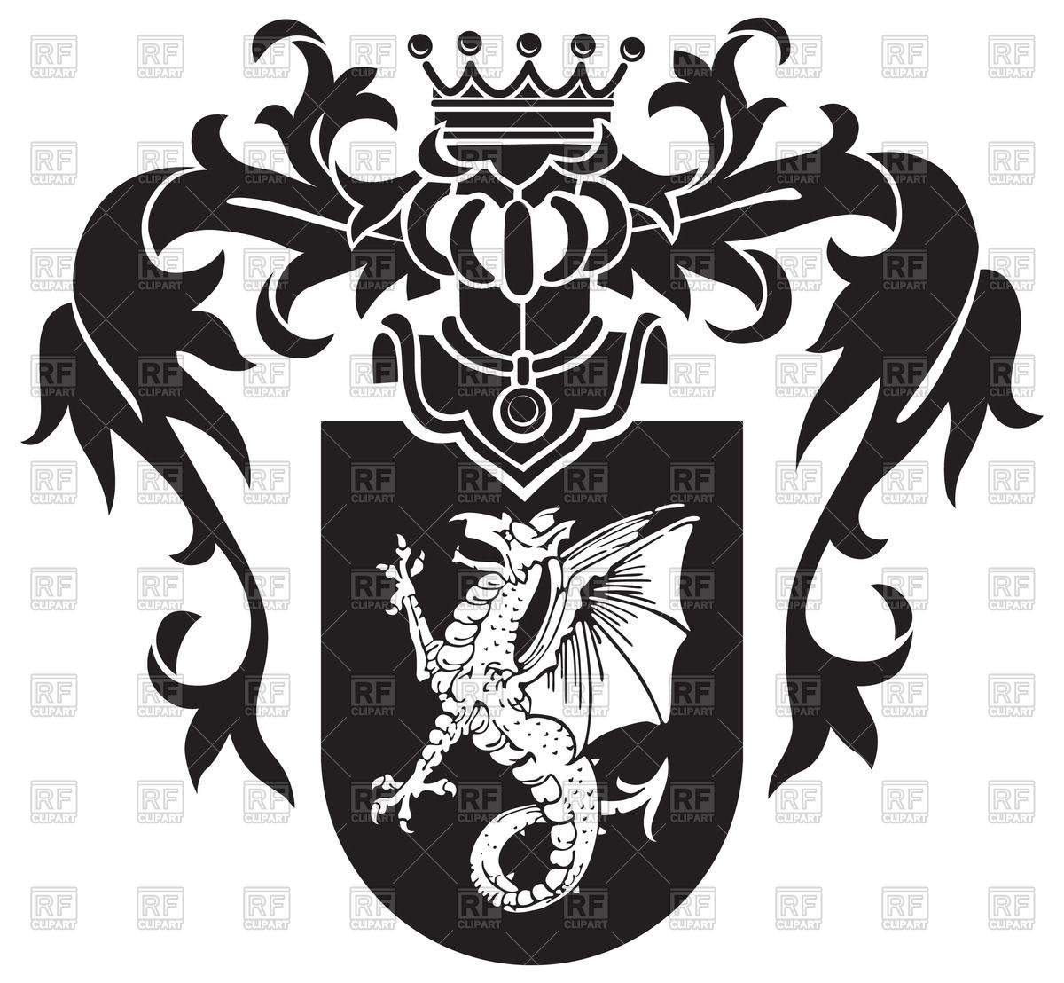 1200x1108 Medieval Heraldic Coat Of Arms With Wyvern On Shield Vector Image