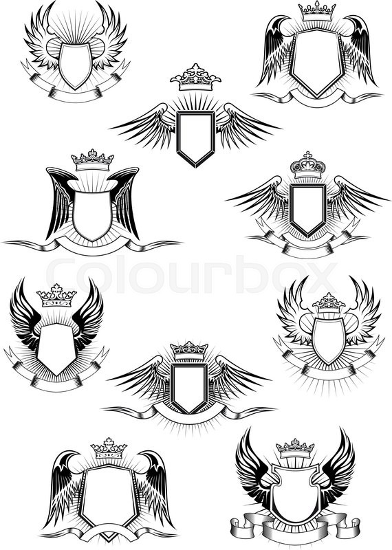 570x800 Heraldic Coat Of Arms Templates With Medieval Winged Shields