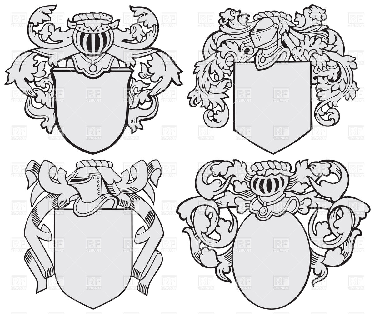 1200x1005 Knightly Coats Of Arms And Royal Heraldic Elements Vector Image