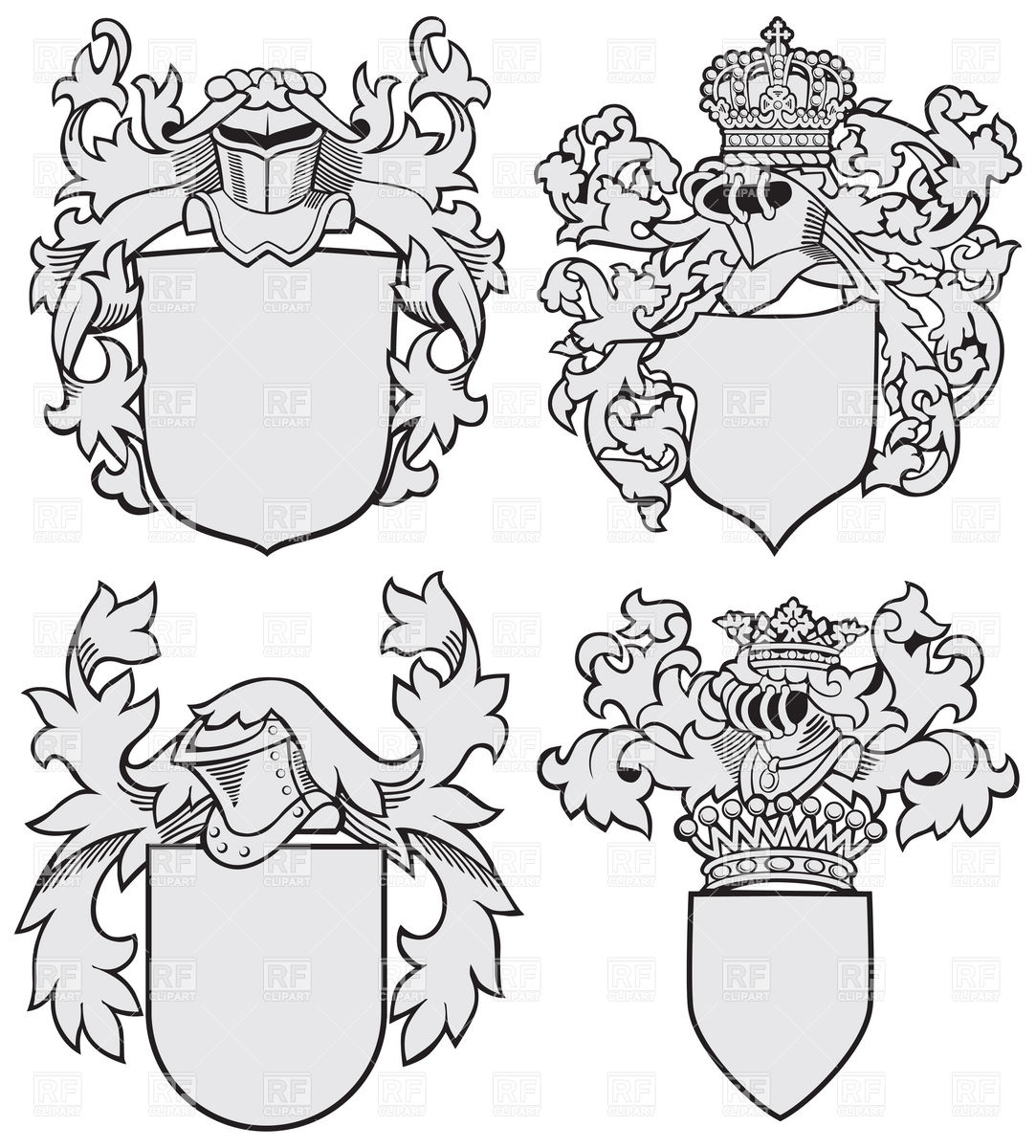 1083x1200 Medieval Coats Of Arms Blank Templates Vector Image Vector