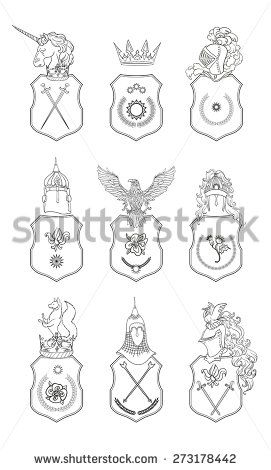 271x470 Vector Heraldry Emblem Collection. Coat Of Arms Template.