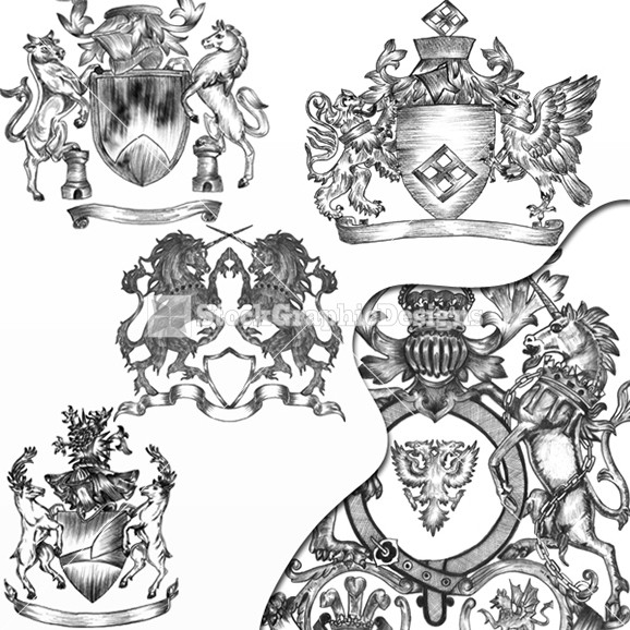 578x578 Unicorn, Lion, Horse, Griffin, Deer Heraldic Coat Of Arms Vector