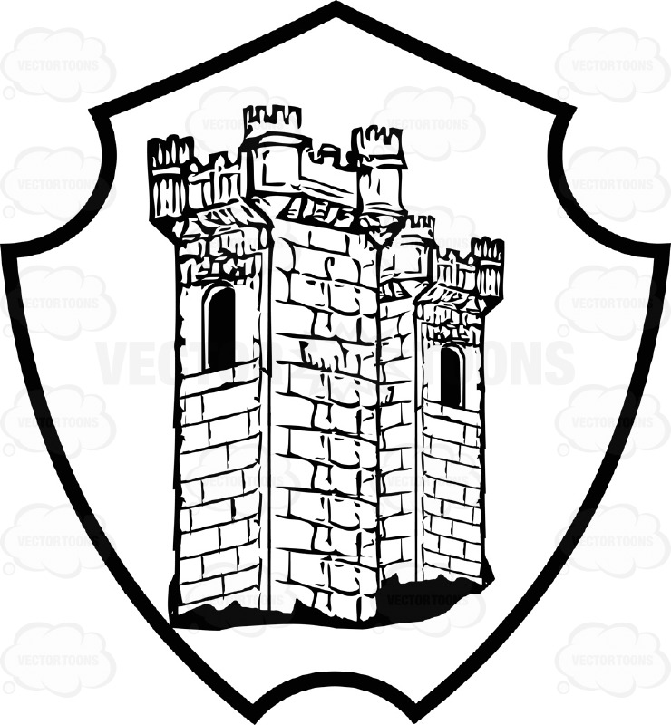 740x800 Black And White Castle Tower Coat Arms Inside Geometric Plaque