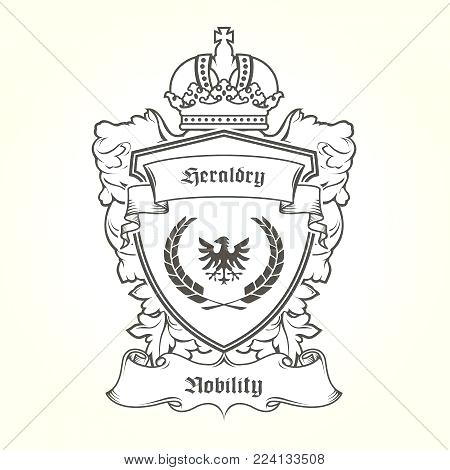 450x470 Coat Arms Template Heraldic Eagle Vector Photo Of With Shield Arm