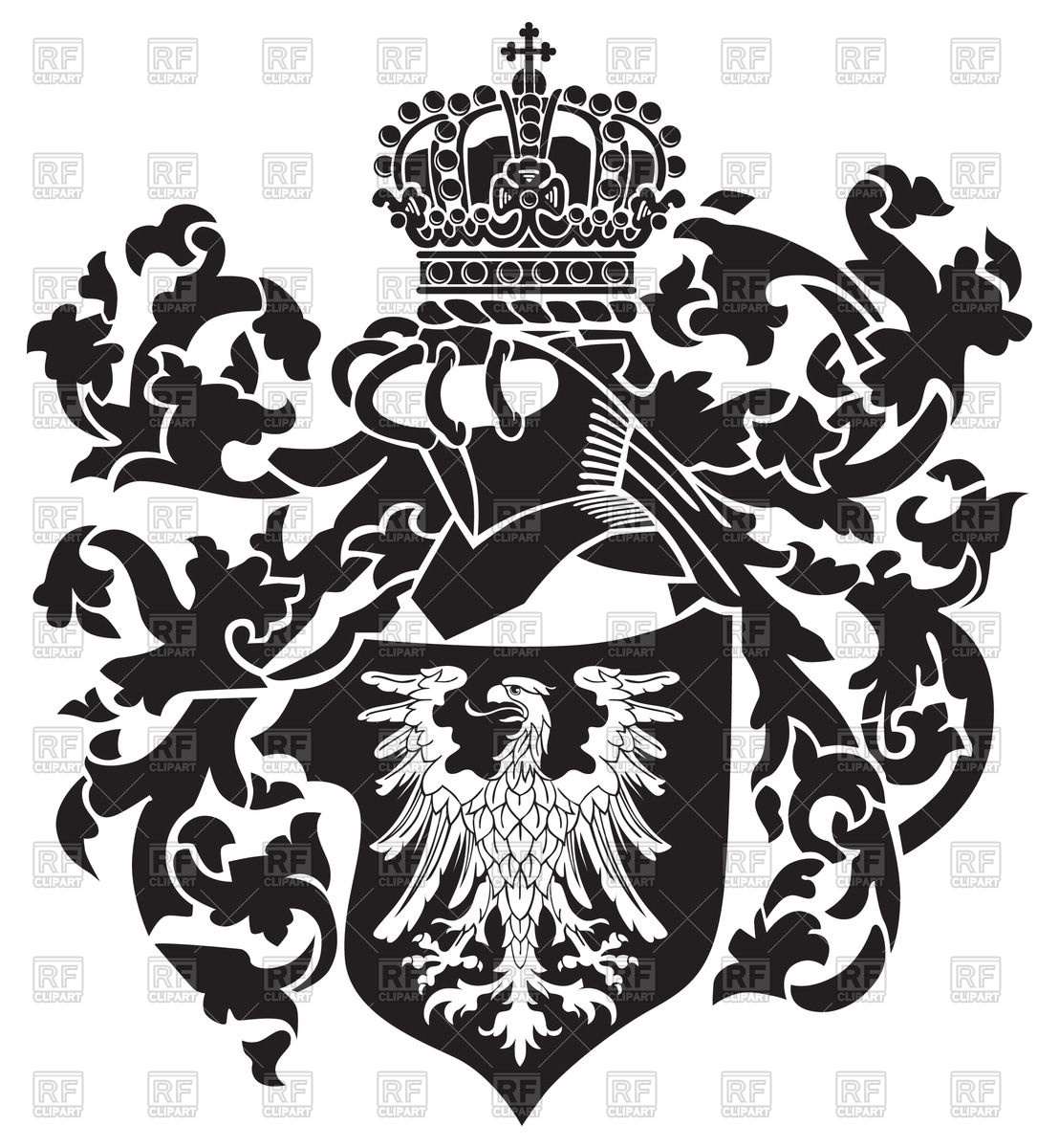 1108x1200 Heraldic Eagle On Royal Coat Of Arms Vector Image Vector Artwork