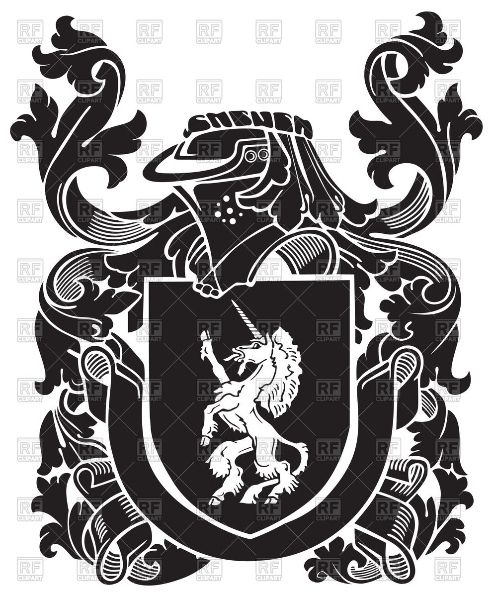 992x1200 Heraldic Unicorn On Medieval Coat Of Arms Vector Image Vector