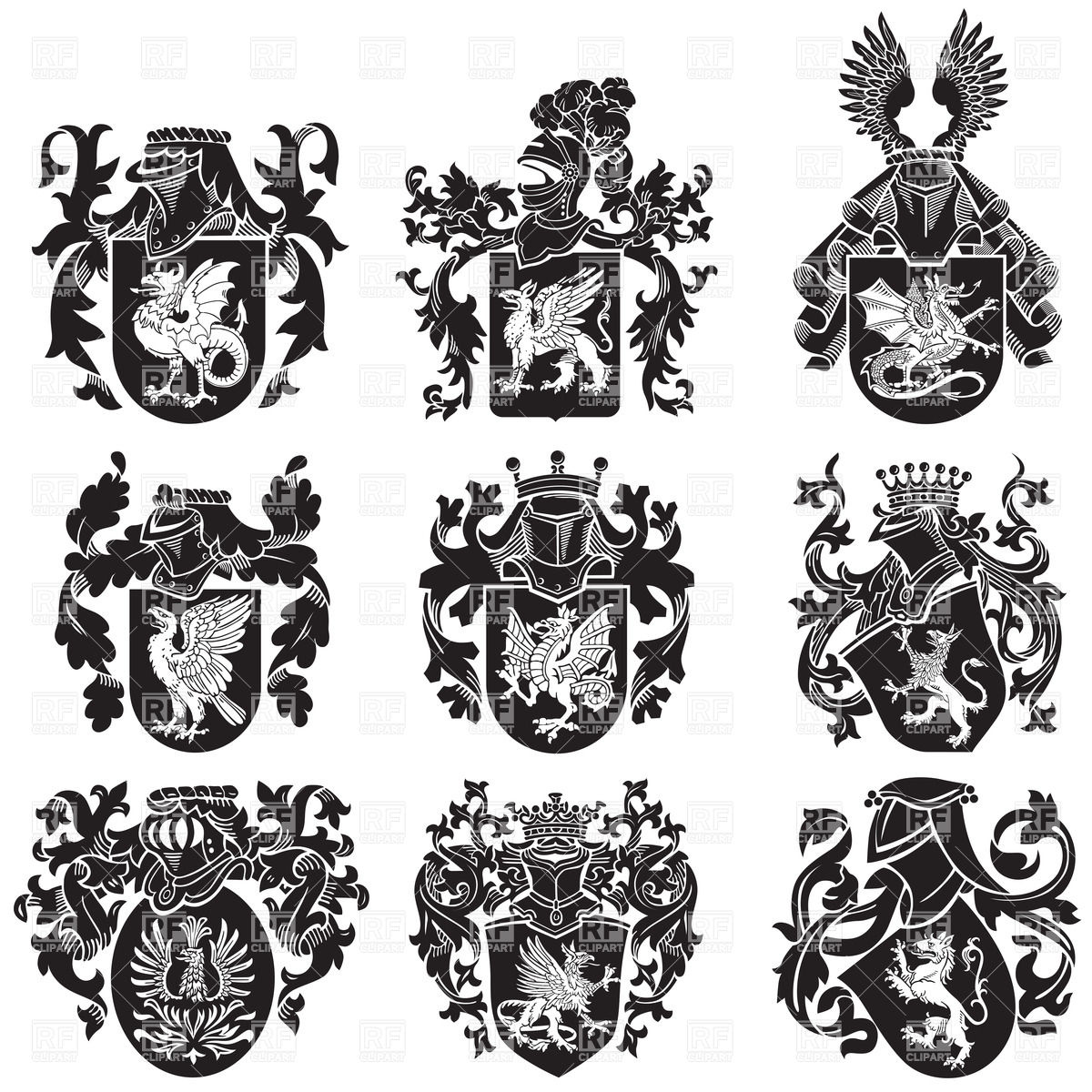1200x1200 Medieval Heraldic Coat Of Arms With Mythological Animals Vector