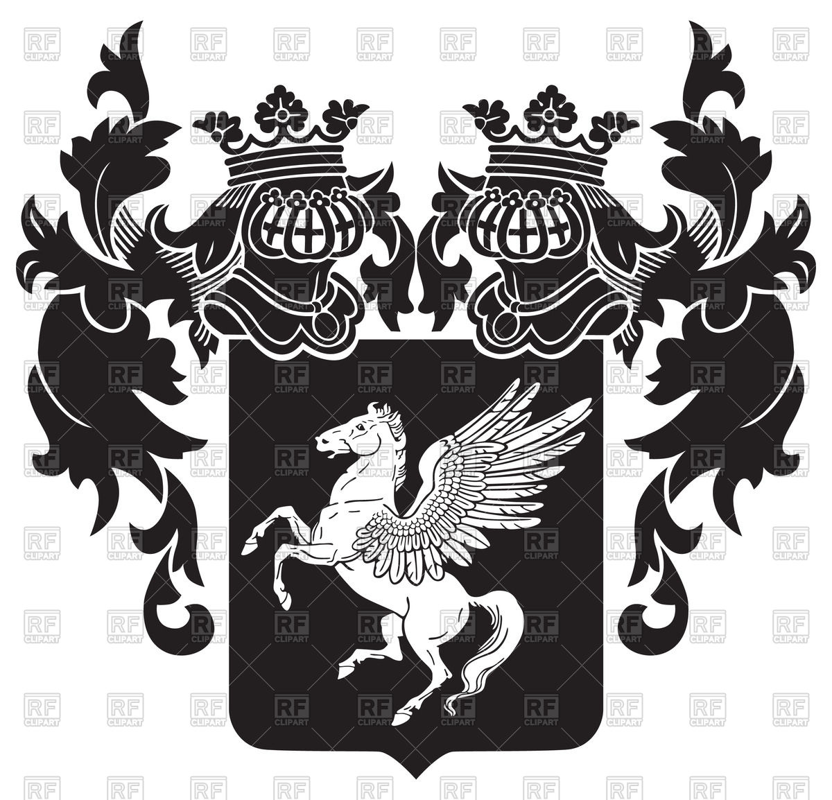 1200x1154 Ornate Heraldic Emblem With Image Of Pegasus On Shield