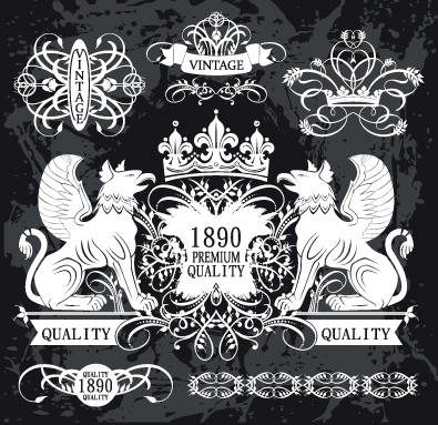 395x383 Black And White Heraldry Coat Of Arms Vector 01 Free Download