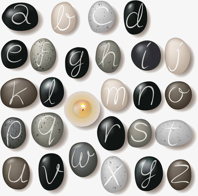 650x641 Pebbles In English Letters, Cobblestone, English Alphabet, Stone