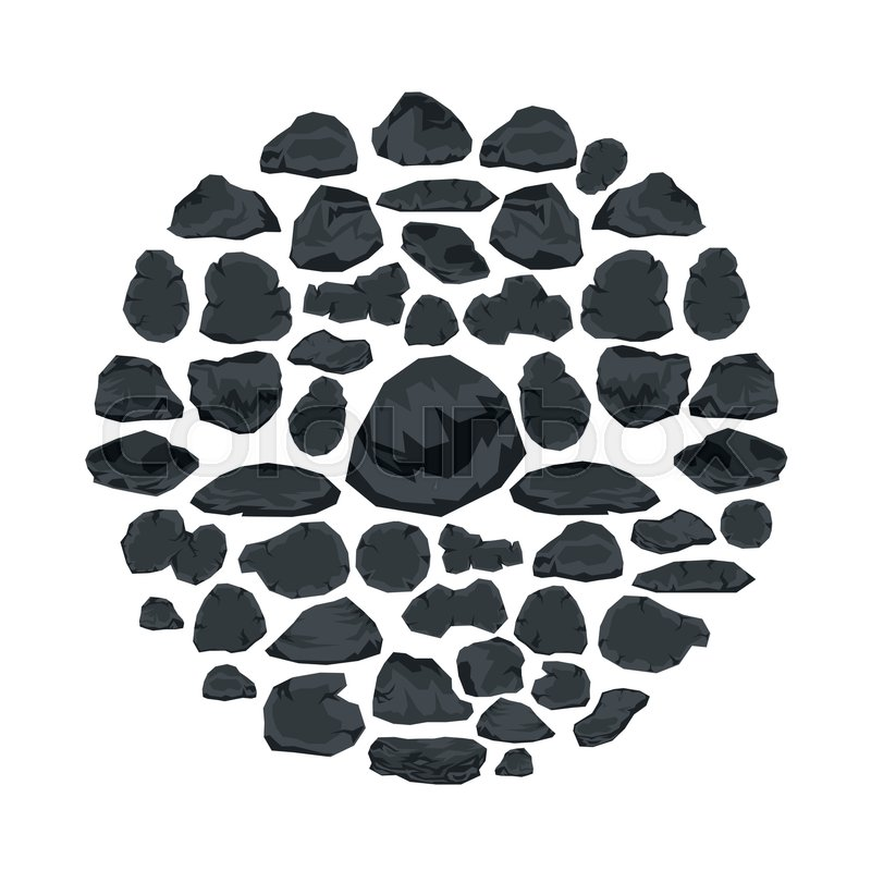 800x800 Stone Flat Icons Set Vector Illustration For Design And Web