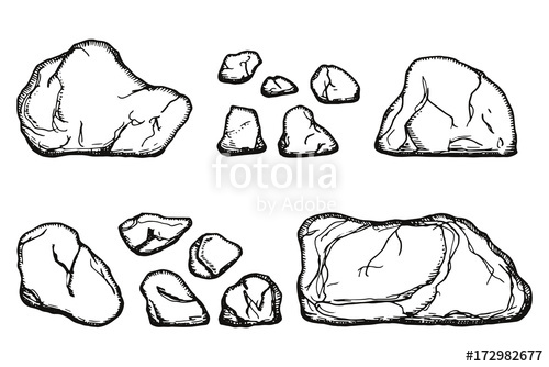 500x334 Stones Cobblestone Vector Isolated. Hand Drawing Stock Image And