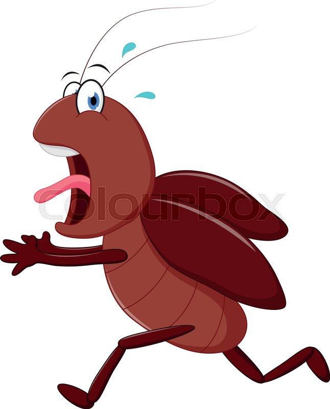 646x800 Vector Illustration Of Scary Cockroach Running Cartoon Stock