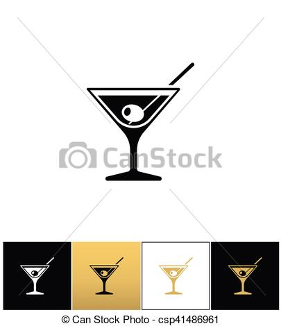 405x470 Cocktail Glass Sign With Martini Vodka And Olive Vector Icons On