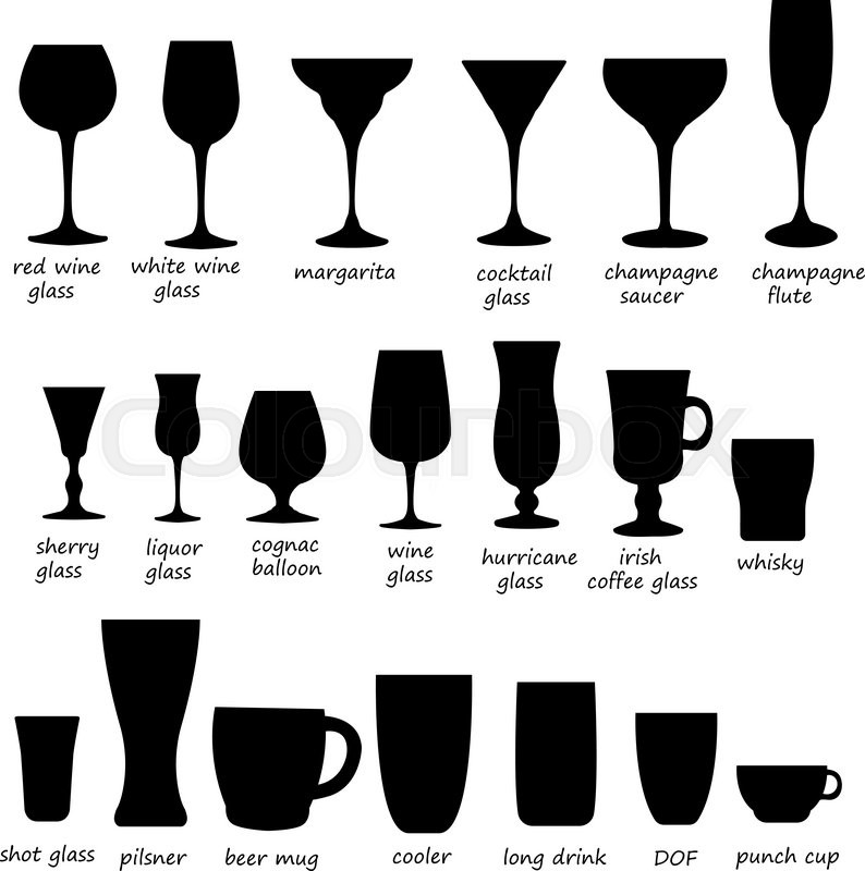 794x800 Glass Collection. Cocktail Glass Silhouette. Vector Set Of
