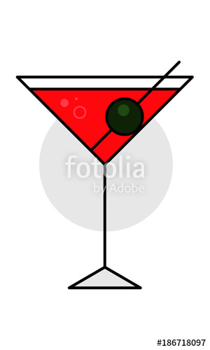300x500 Martini Glass Vector Illustration. Cocktail Glass Icon. Stock