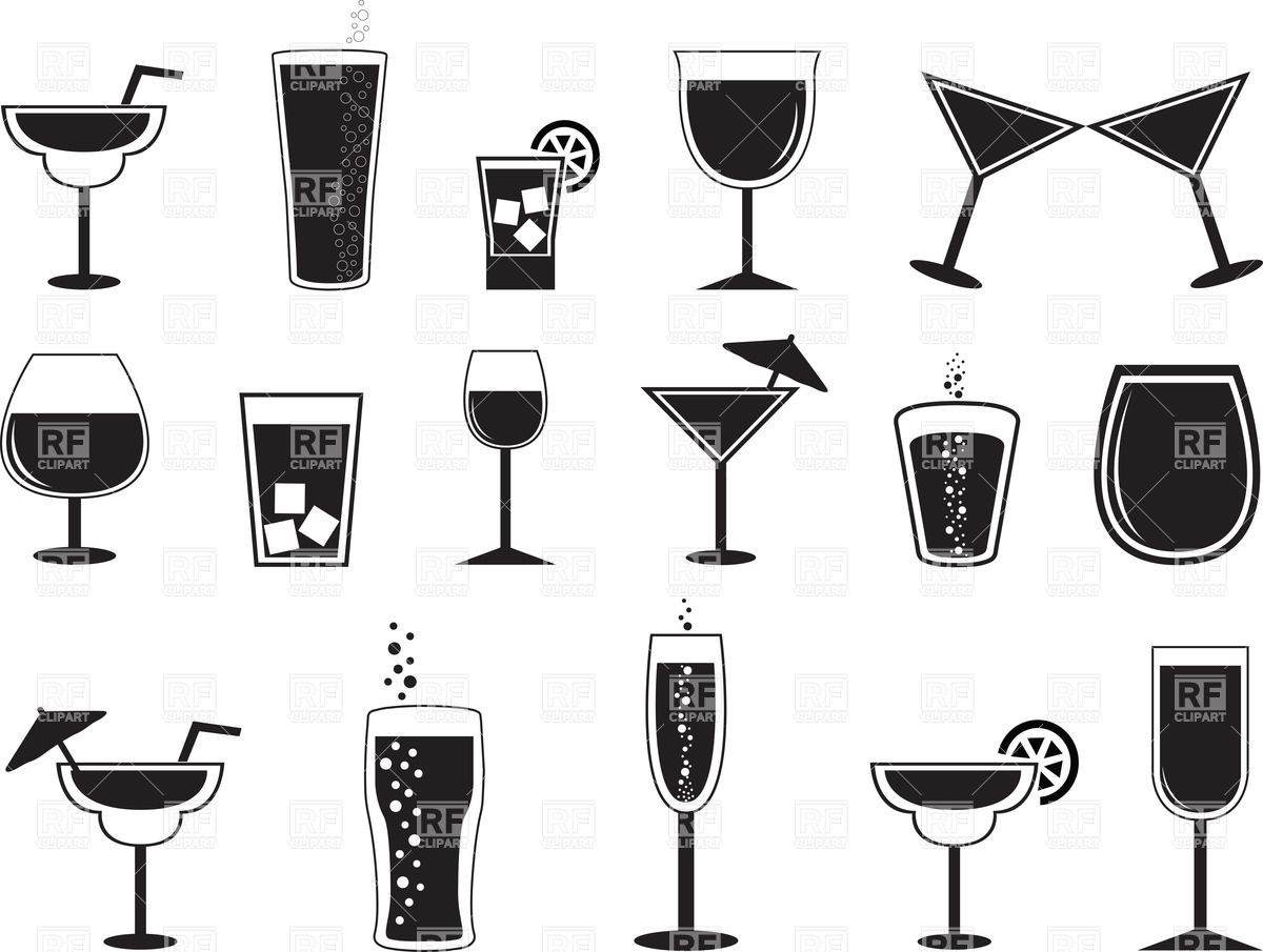 1200x905 Pictograms Of Cocktails And Drinks In Different Glasses Vector