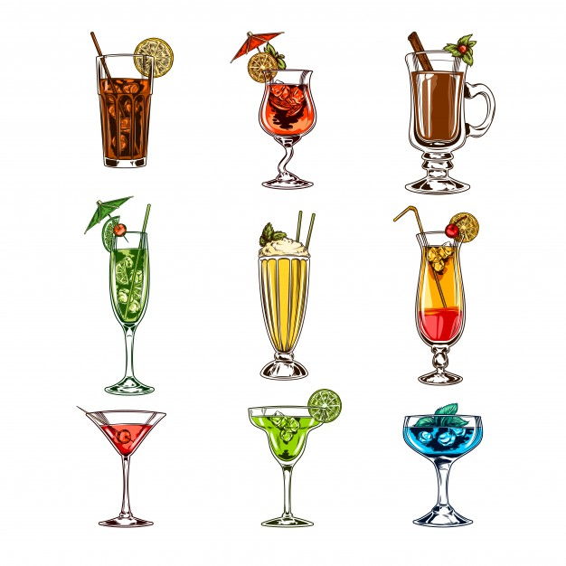 626x626 Vector Set Of Cocktail Glasses Vector Free Download