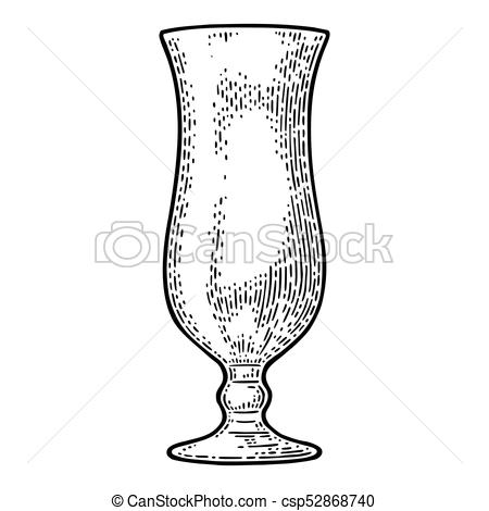 450x470 Empty Glass Cocktail. Vector Engraving Black Vintage. Empty Glass