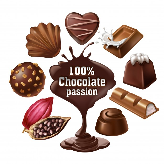 626x626 Set Of Vector Icons Of Chocolate Desserts And Candies, Liquid
