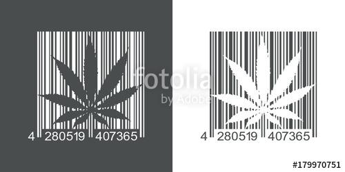 500x250 Icono Plano Codigo De Barras Marihuana Gris Y Blanco Stock Image
