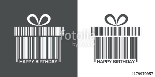 500x250 Icono Plano Codigo De Barras Regalo Happy Birthday Gris Y Blanco