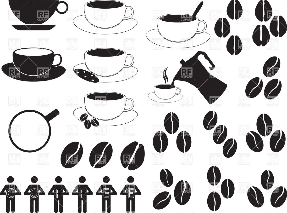 1200x889 Coffee Cups And Coffee Beans Vector Image Vector Artwork Of