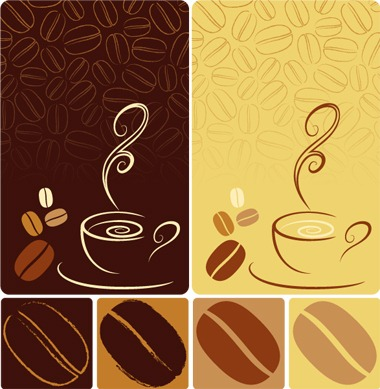 380x389 Elements Of Coffee With Coffee Beans Vector My Free Photoshop