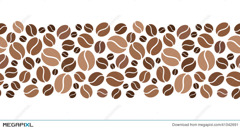 800x430 Horizontal Seamless Background With Coffee Beans. Vector