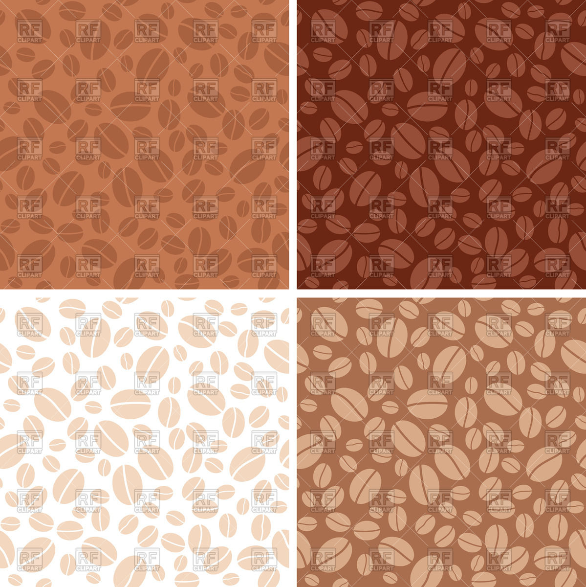 1199x1200 Set Of Coffee Beans Brown Seamless Patterns Vector Image Vector
