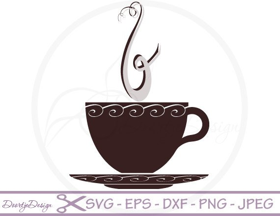 570x440 Coffee Cup Vector Svg File Clipart Coffee Cup Scrapbook Etsy