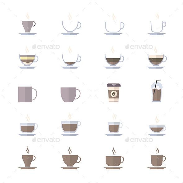 590x590 Coffee Cup Icons Set Of Drink Icons Vector Illustration Style