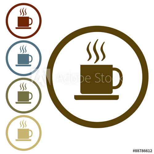 500x500 Coffee Cup Icon Or Sign. Vector Illustration.