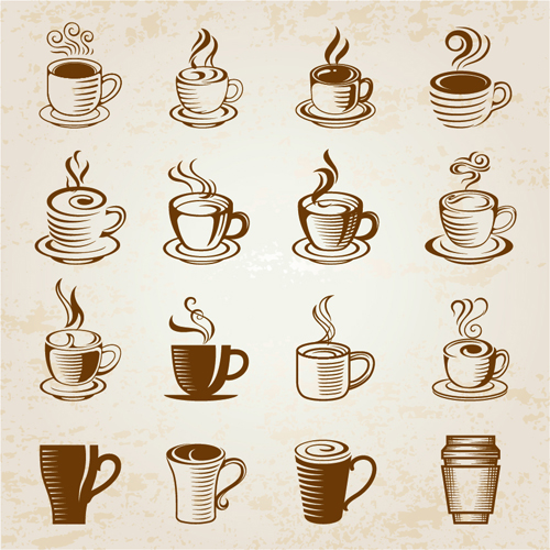 500x500 Hand Drawn Coffee Cup Icons Vector Free Download