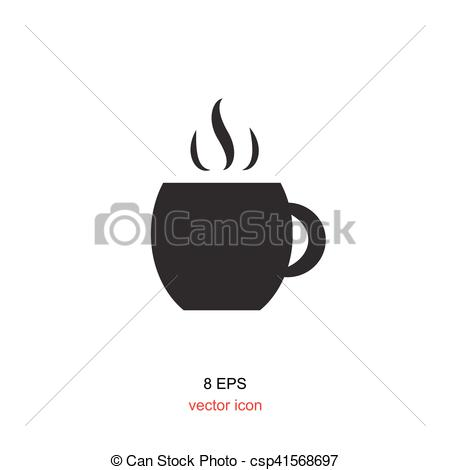 450x470 Simple Coffee Cup Icon Isolated On White Background.