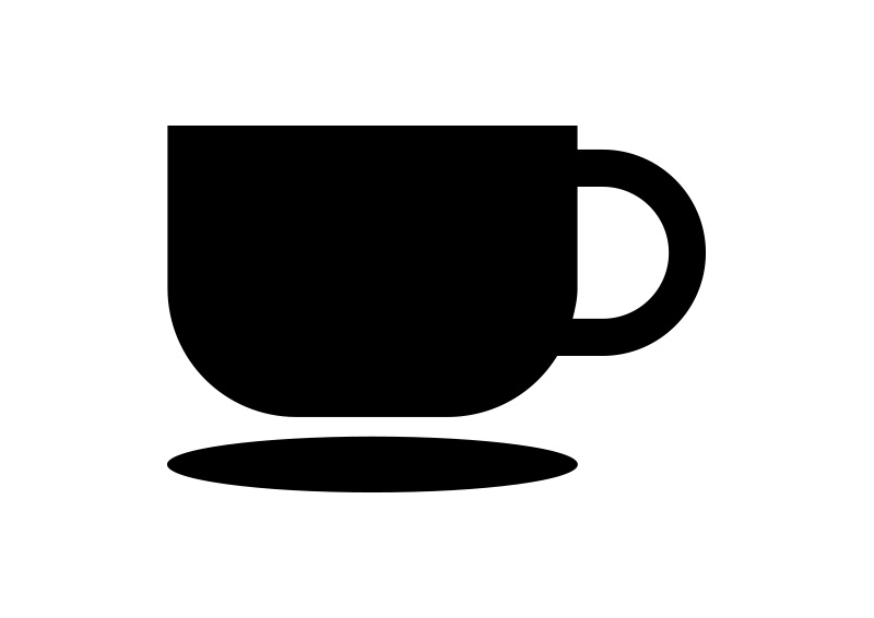 800x566 Black Flat Coffee Cup Vector Icon