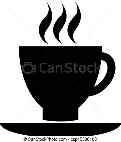 400x470 Black Coffee Cup Icon. Cup Of Coffee Tea Hot Drink Black Vector