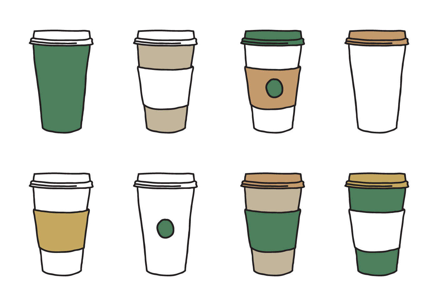 1400x980 Coffee Sleeve Cup Vectors