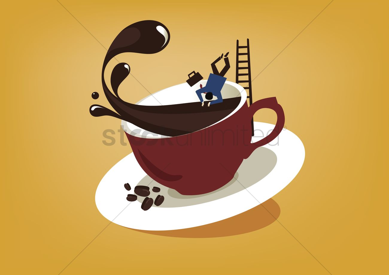 1300x919 Man Diving Into Coffee Cup Vector Image