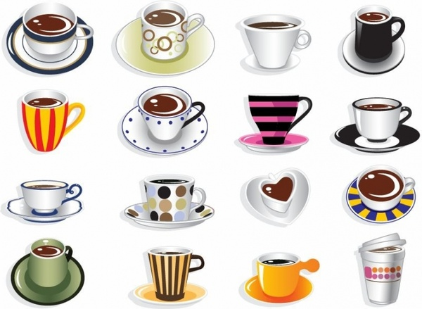 600x439 Coffee Cup Vector Set Free Vector In Encapsulated Postscript Eps