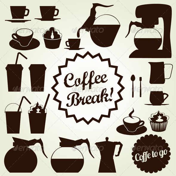 590x590 Coffee Set Vector Icon Collection By Snja Graphicriver