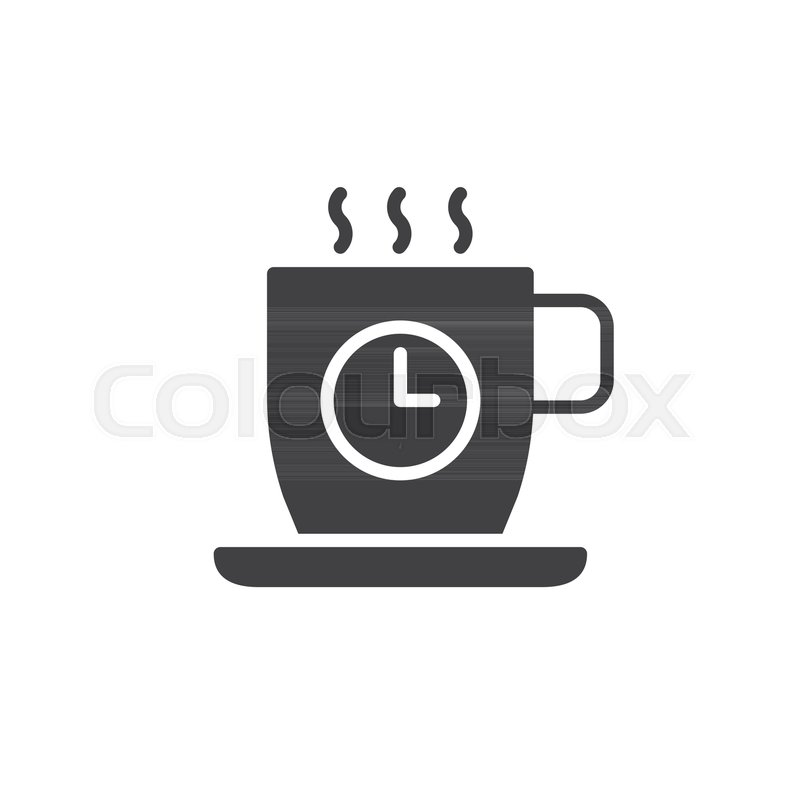 800x800 Coffee Cup With Clock Icon Vector, Filled Flat Sign, Solid