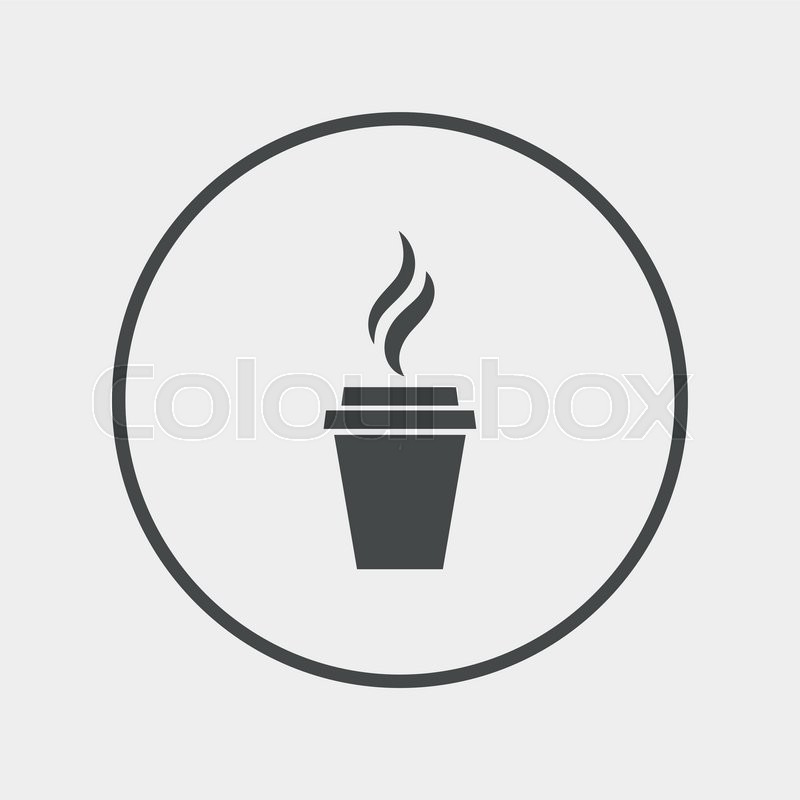 800x800 Coffee Glass Sign Icon. Hot Coffee Button. Flat Coffee Icon