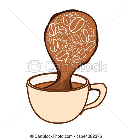 450x470 Color Cup Steam With Grain Coffee Icon, Vector Illustration.