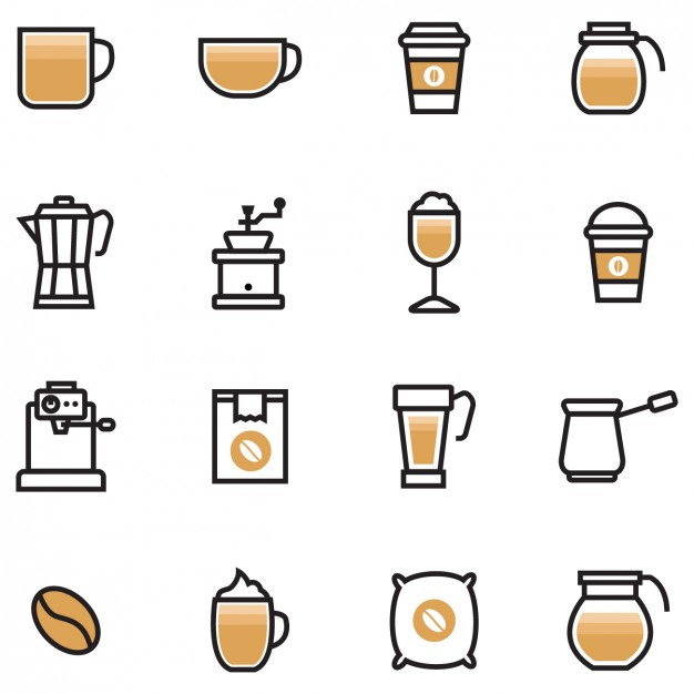 626x626 Coloured Coffee Icons Vector Free Download