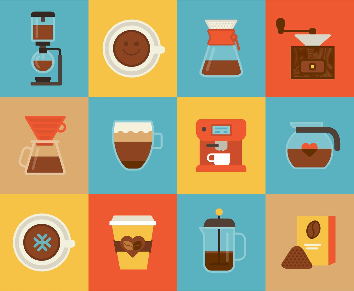 1136x936 Flat Coffee Vector Icons Vector Art Amp Graphics