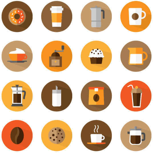 536x535 Flat Round Coffee Icons Free Vector In Adobe Illustrator Ai ( .ai